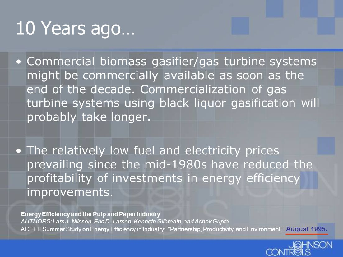 10 Years ago… Commercial biomass gasifier/gas turbine systems might be commercially available as soon as the end of the decade. Commercialization of g
