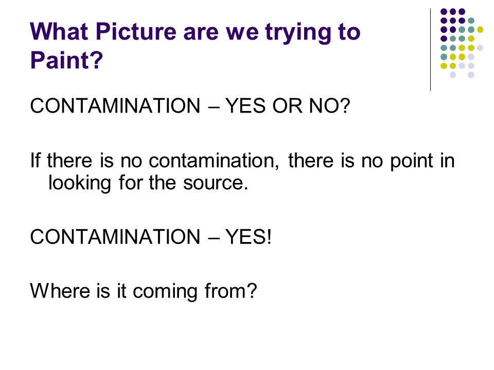 What Picture are we trying to Paint.CONTAMINATION – YES OR NO.