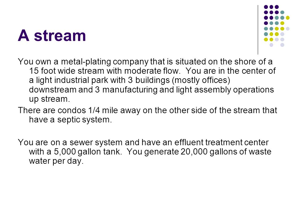 A stream You own a metal-plating company that is situated on the shore of a 15 foot wide stream with moderate flow.