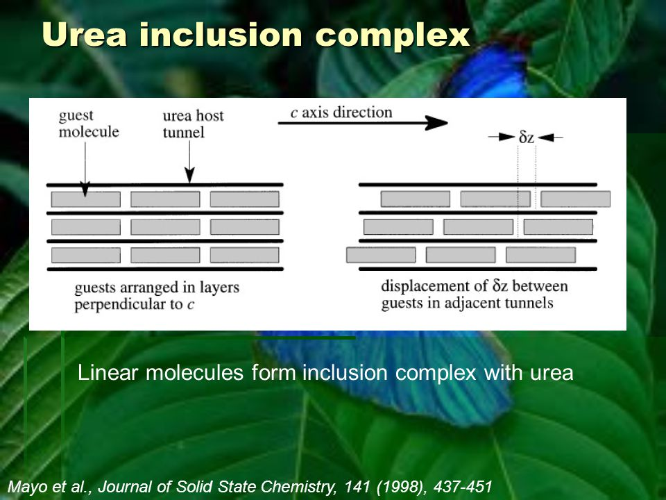 Urea inclusion complex Mayo et al., Journal of Solid State Chemistry, 141 (1998), 437-451 Linear molecules form inclusion complex with urea