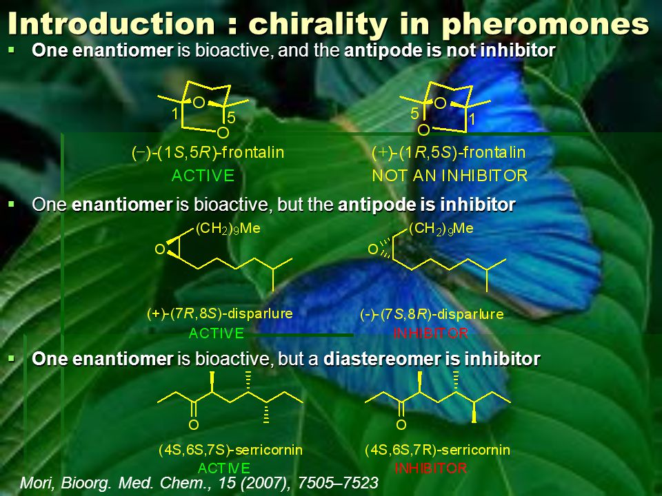 Introduction : chirality in pheromones  One enantiomer is bioactive, and the antipode is not inhibitor  One enantiomer is bioactive, but the antipod