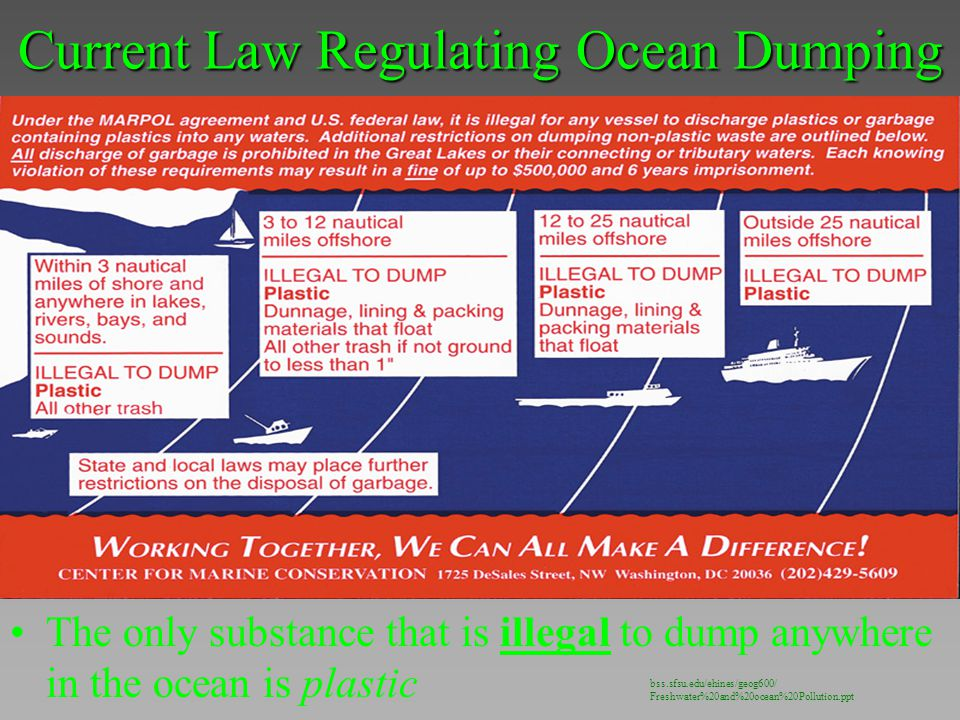 Current Law Regulating Ocean Dumping The only substance that is illegal to dump anywhere in the ocean is plastic bss.sfsu.edu/ehines/geog600/ Freshwat