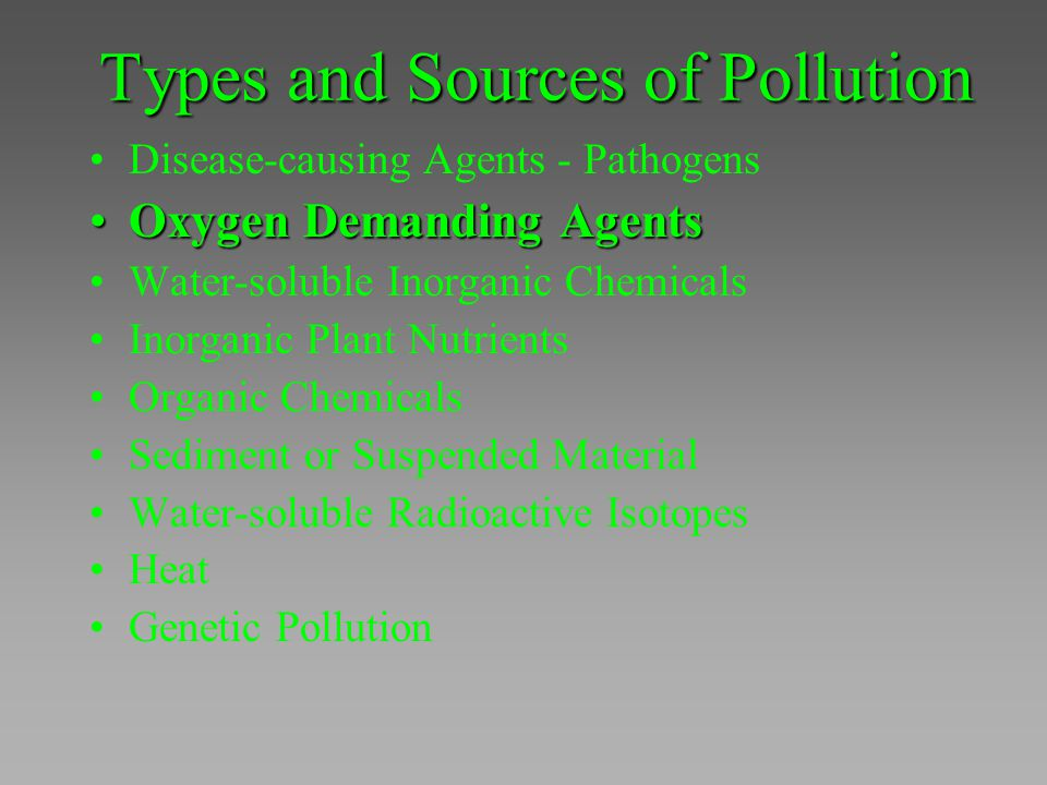 Types and Sources of Pollution Disease-causing Agents - Pathogens Oxygen Demanding AgentsOxygen Demanding Agents Water-soluble Inorganic Chemicals Ino