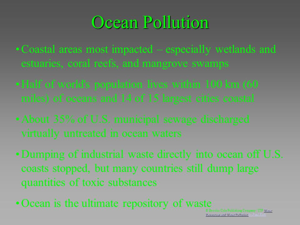 Coastal areas most impacted – especially wetlands and estuaries, coral reefs, and mangrove swamps Half of world's population lives within 100 km (60 m