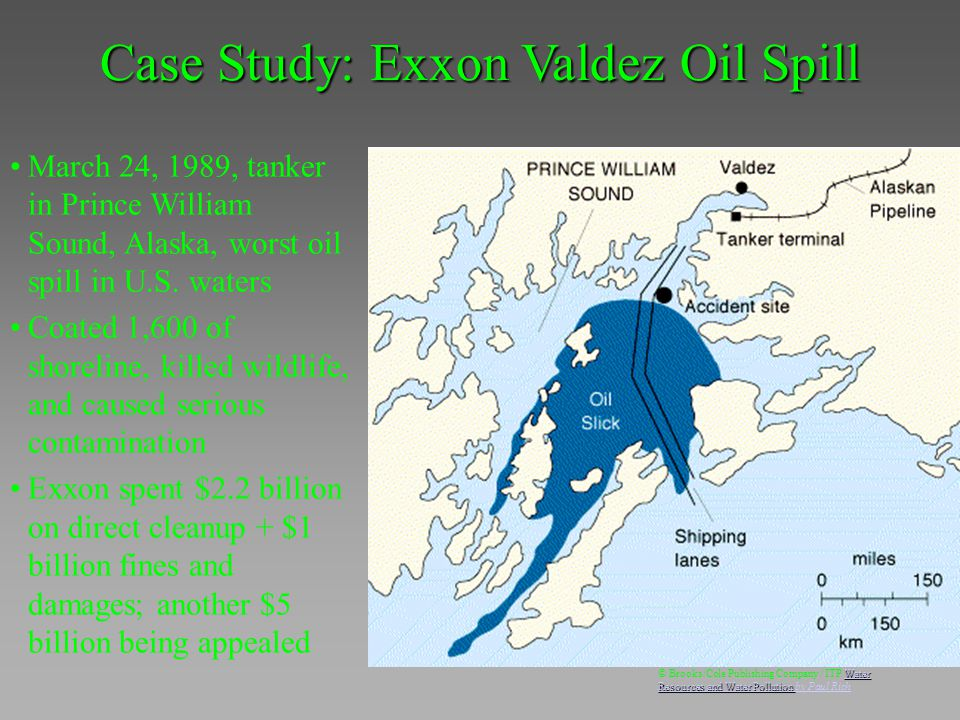 March 24, 1989, tanker in Prince William Sound, Alaska, worst oil spill in U.S. waters Coated 1,600 of shoreline, killed wildlife, and caused serious