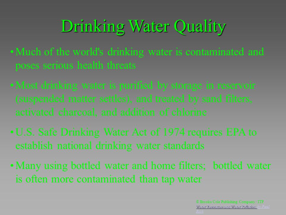 Much of the world's drinking water is contaminated and poses serious health threats Most drinking water is purified by storage in reservoir (suspended