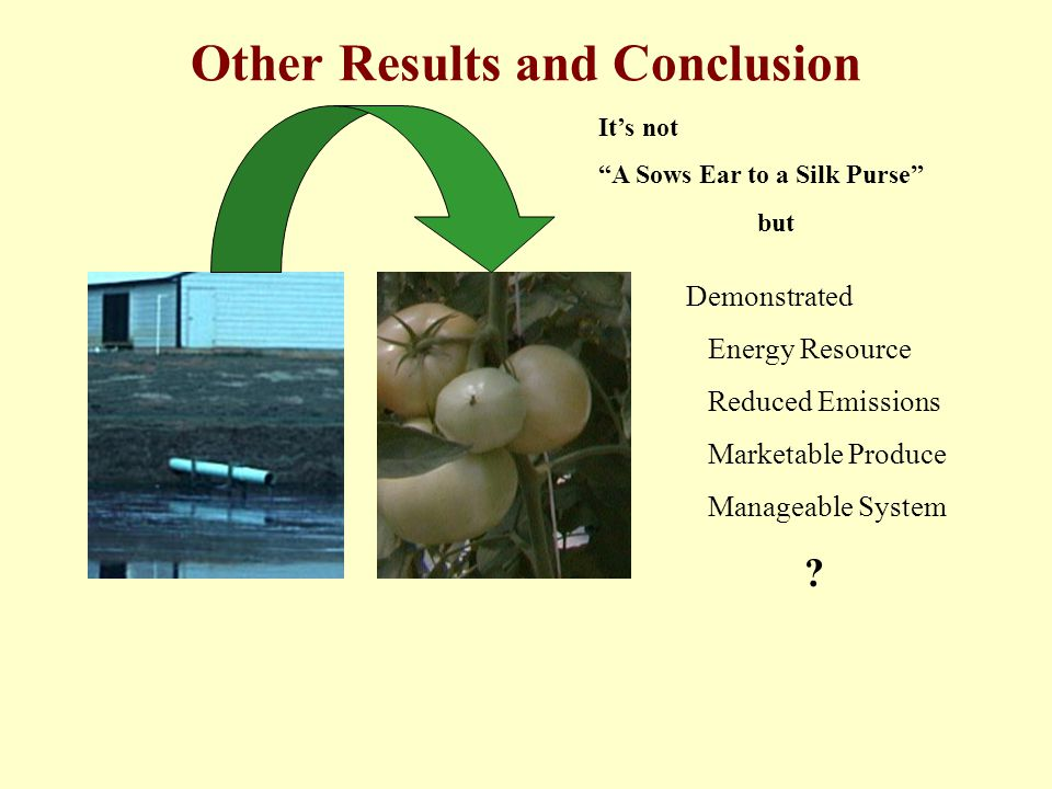"Other Results and Conclusion It's not ""A Sows Ear to a Silk Purse"" but Demonstrated Energy Resource Reduced Emissions Marketable Produce Manageable Sy"