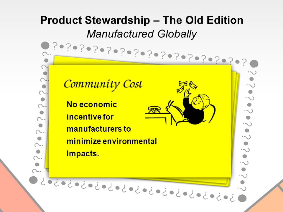 No economic incentive for manufacturers to minimize environmental Impacts.