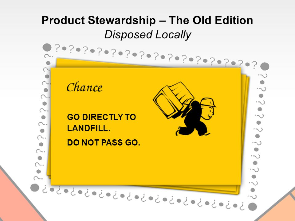 Disposed Locally GO DIRECTLY TO LANDFILL. DO NOT PASS GO. Product Stewardship – The Old Edition