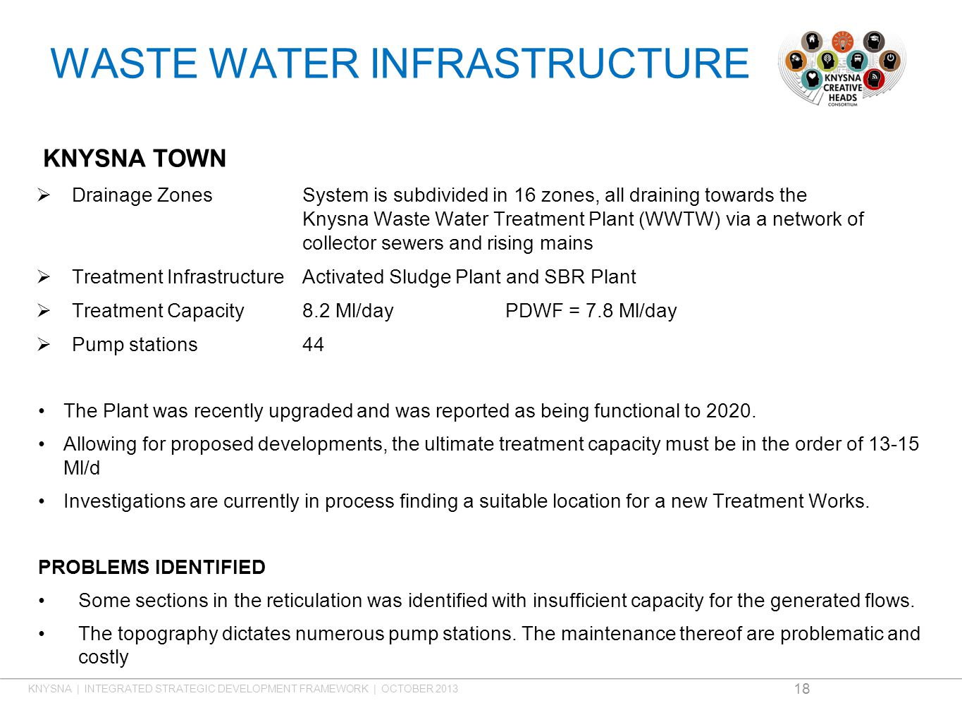 WASTE WATER INFRASTRUCTURE KNYSNA TOWN  Drainage ZonesSystem is subdivided in 16 zones, all draining towards the Knysna Waste Water Treatment Plant (WWTW) via a network of collector sewers and rising mains  Treatment InfrastructureActivated Sludge Plant and SBR Plant  Treatment Capacity8.2 Ml/dayPDWF = 7.8 Ml/day  Pump stations44 The Plant was recently upgraded and was reported as being functional to 2020.