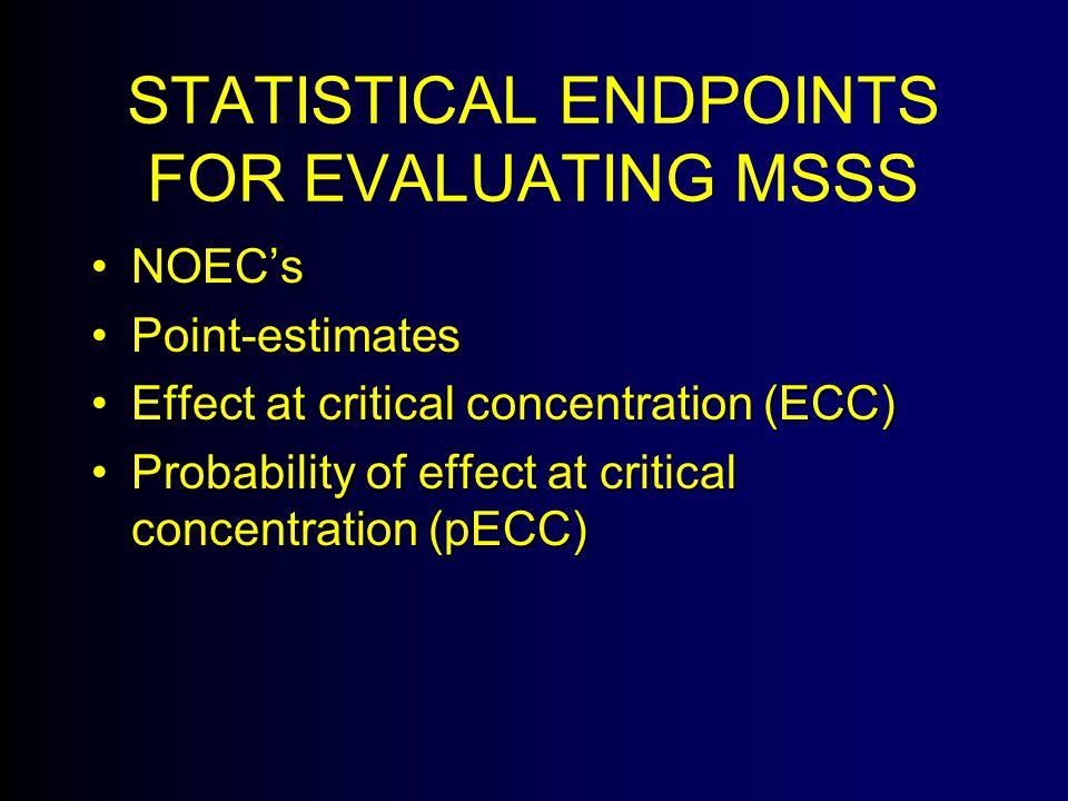STATISTICAL ENDPOINTS FOR EVALUATING MSSS NOEC'sNOEC's Point-estimatesPoint-estimates Effect at critical concentration (ECC)Effect at critical concentration (ECC) Probability of effect at critical concentration (pECC)Probability of effect at critical concentration (pECC)