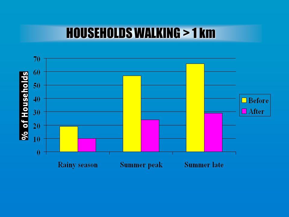 HOUSEHOLDS WALKING > 1 km