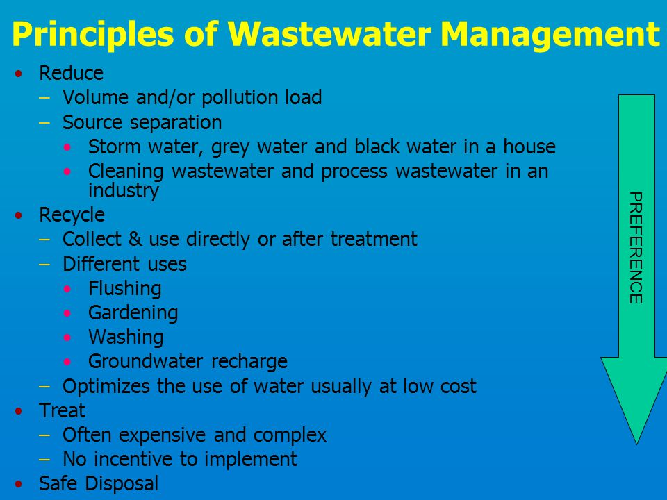 Principles of Wastewater Management Reduce –Volume and/or pollution load –Source separation Storm water, grey water and black water in a house Cleanin
