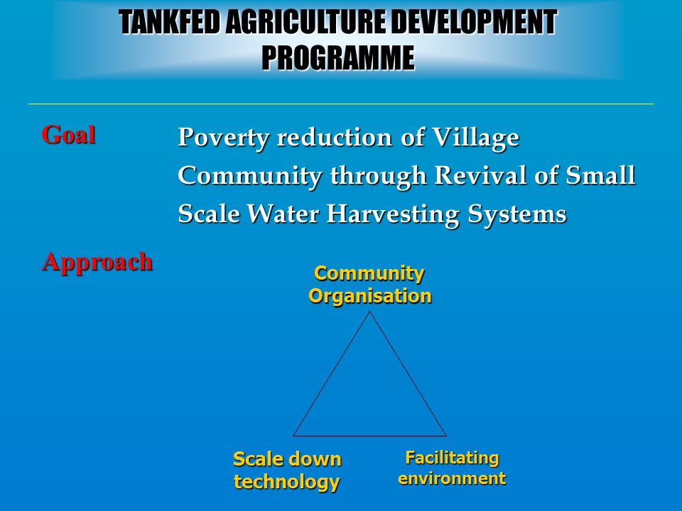 Approach Poverty reduction of Village Community through Revival of Small Scale Water Harvesting Systems Goal Community Organisation Scale down technol