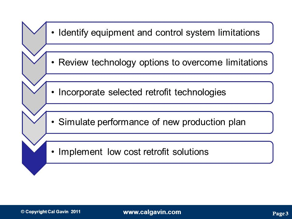 Page 3 © Copyright Cal Gavin 2011 www.calgavin.com Identify equipment and control system limitationsReview technology options to overcome limitationsIncorporate selected retrofit technologiesSimulate performance of new production plan Implement low cost retrofit solutions