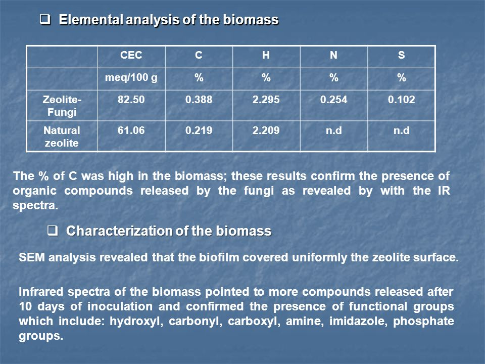  Elemental analysis of the biomass CECCHNS meq/100 g%% Zeolite- Fungi 82.500.3882.2950.2540.102 Natural zeolite 61.060.2192.209n.d  Characterization of the biomass SEM analysis revealed that the biofilm covered uniformly the zeolite surface.