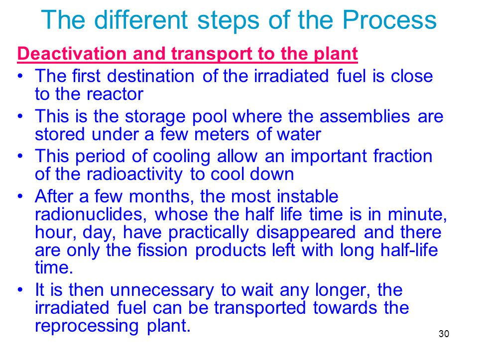 30 The different steps of the Process Deactivation and transport to the plant The first destination of the irradiated fuel is close to the reactor Thi