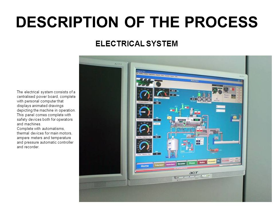 DESCRIPTION OF THE PROCESS The electrical system consists of a centralised power board, complete with personal computer that displays animated drawing