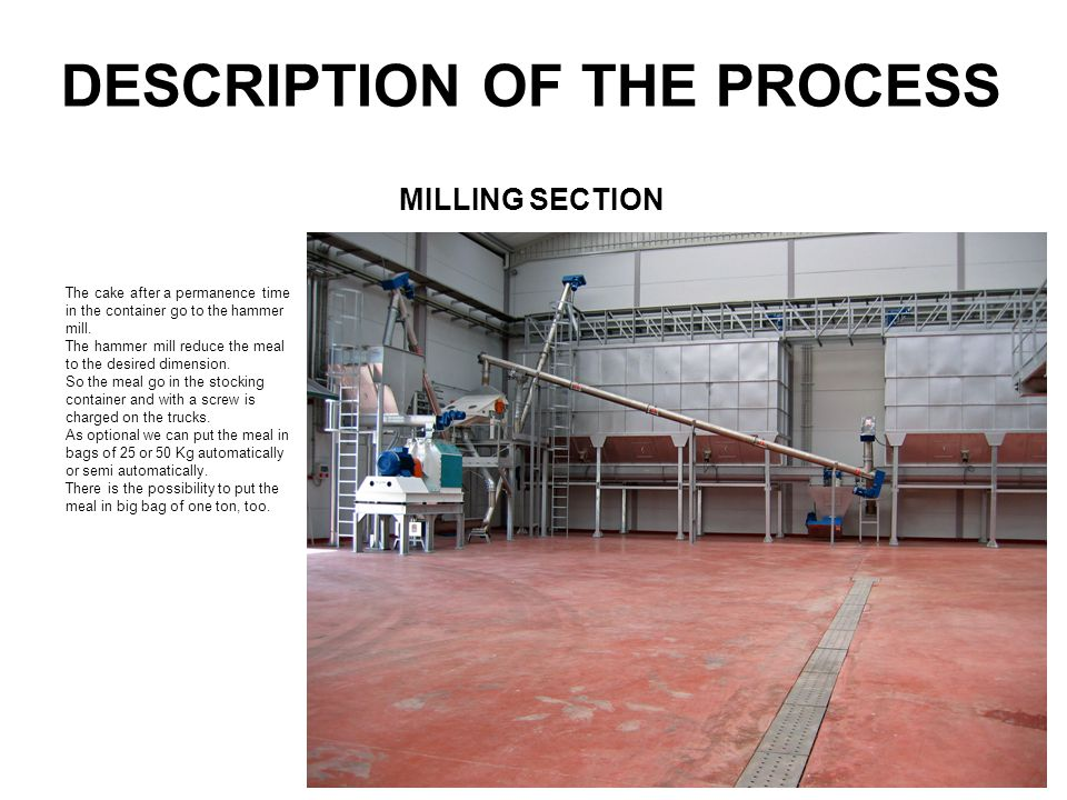DESCRIPTION OF THE PROCESS The cake after a permanence time in the container go to the hammer mill. The hammer mill reduce the meal to the desired dim