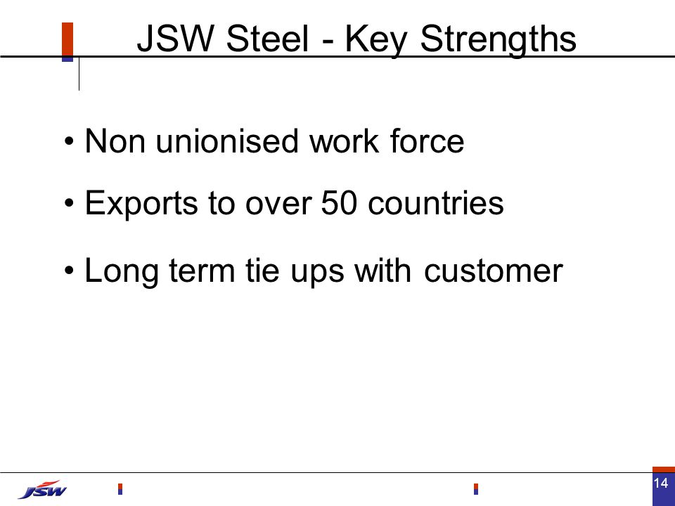 14 Exports to over 50 countries JSW Steel - Key Strengths Non unionised work force Long term tie ups with customer