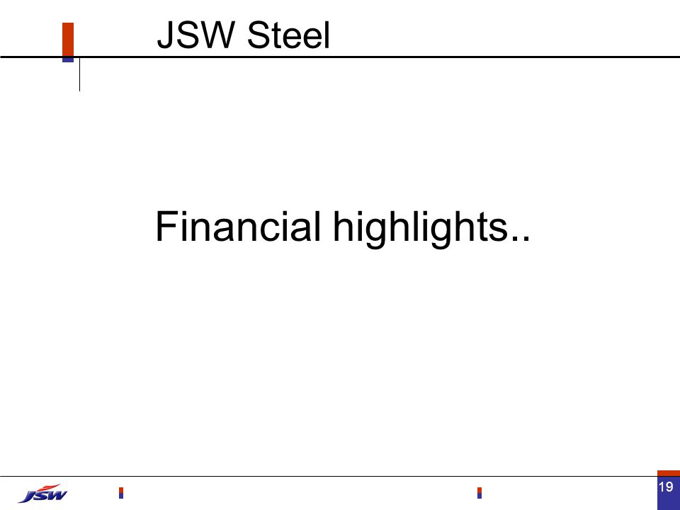 19 Financial highlights.. JSW Steel