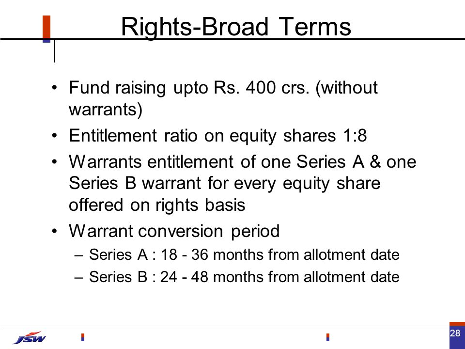 28 Rights-Broad Terms Fund raising upto Rs. 400 crs.