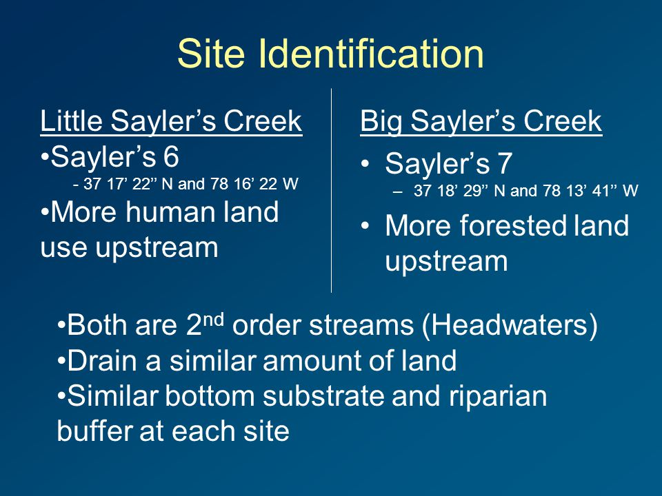 Site Identification Little Sayler's Creek Sayler's 6 - 37 17' 22'' N and 78 16' 22 W More human land use upstream Big Sayler's Creek Sayler's 7 –37 18' 29'' N and 78 13' 41'' W More forested land upstream Both are 2 nd order streams (Headwaters) Drain a similar amount of land Similar bottom substrate and riparian buffer at each site