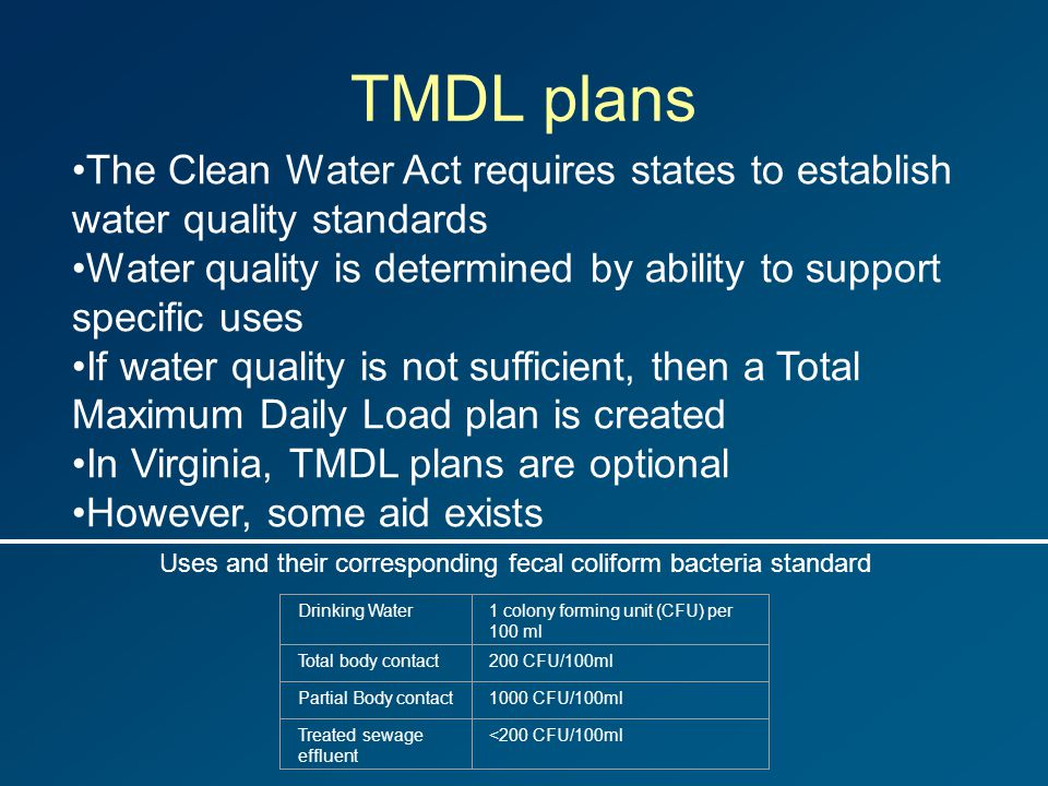 TMDL plans The Clean Water Act requires states to establish water quality standards Water quality is determined by ability to support specific uses If water quality is not sufficient, then a Total Maximum Daily Load plan is created In Virginia, TMDL plans are optional However, some aid exists Drinking Water1 colony forming unit (CFU) per 100 ml Total body contact200 CFU/100ml Partial Body contact1000 CFU/100ml Treated sewage effluent <200 CFU/100ml Uses and their corresponding fecal coliform bacteria standard