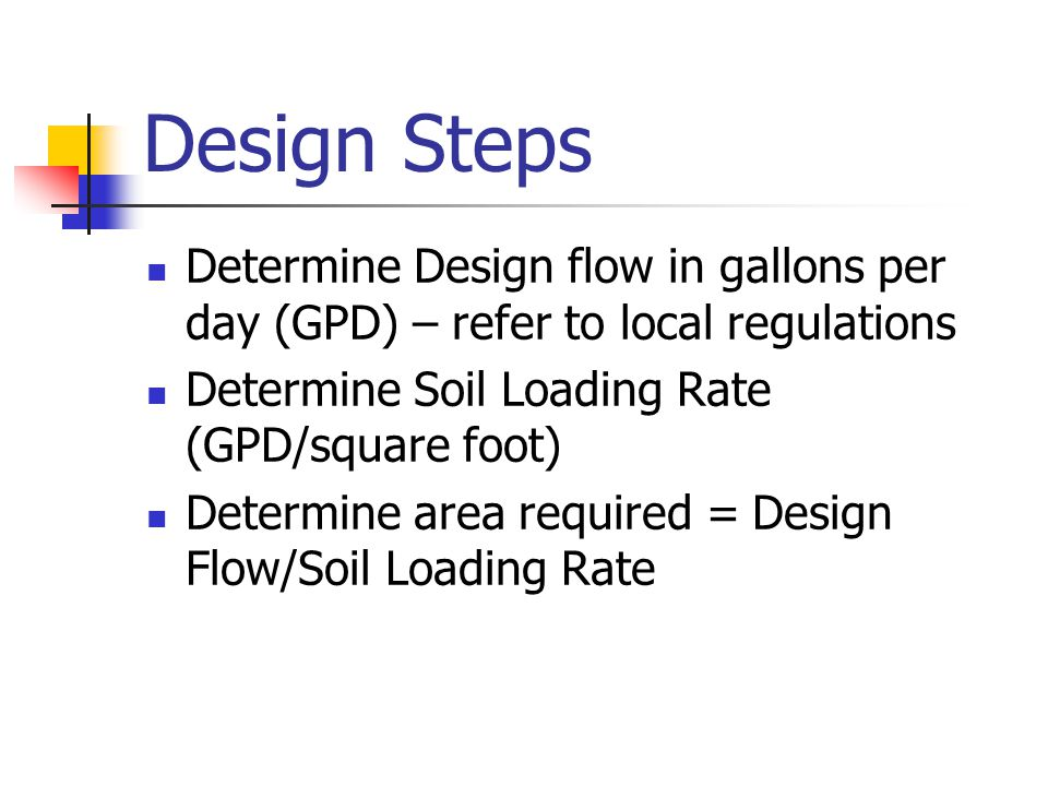 Design Steps Determine Design flow in gallons per day (GPD) – refer to local regulations Determine Soil Loading Rate (GPD/square foot) Determine area required = Design Flow/Soil Loading Rate