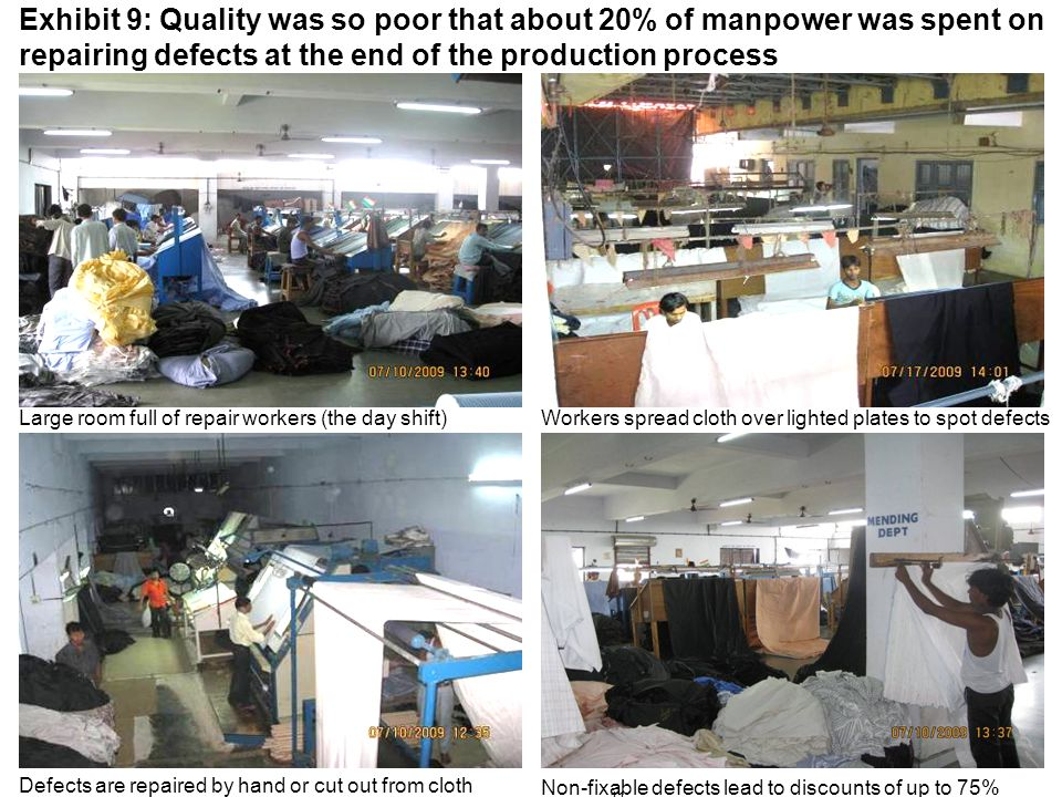 11 Exhibit 9: Quality was so poor that about 20% of manpower was spent on repairing defects at the end of the production process Workers spread cloth