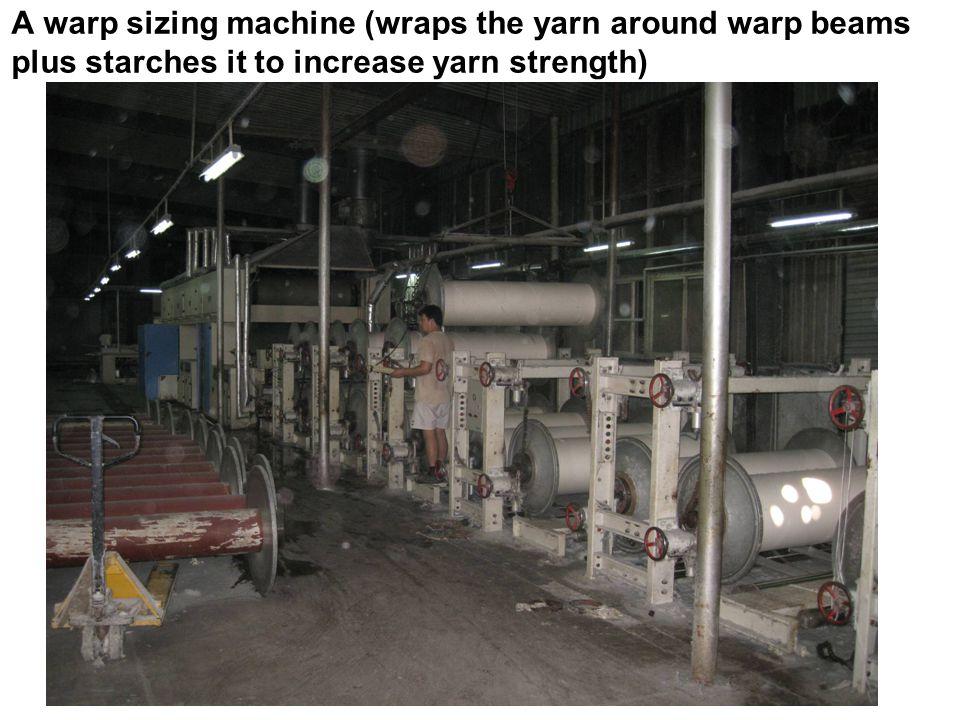 A warp sizing machine (wraps the yarn around warp beams plus starches it to increase yarn strength)