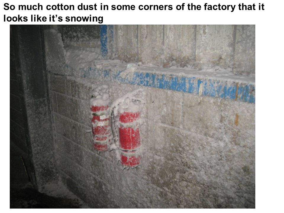 So much cotton dust in some corners of the factory that it looks like it's snowing