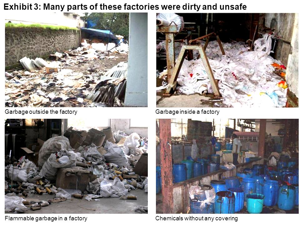 Exhibit 3: Many parts of these factories were dirty and unsafe Garbage outside the factoryGarbage inside a factory Chemicals without any coveringFlamm