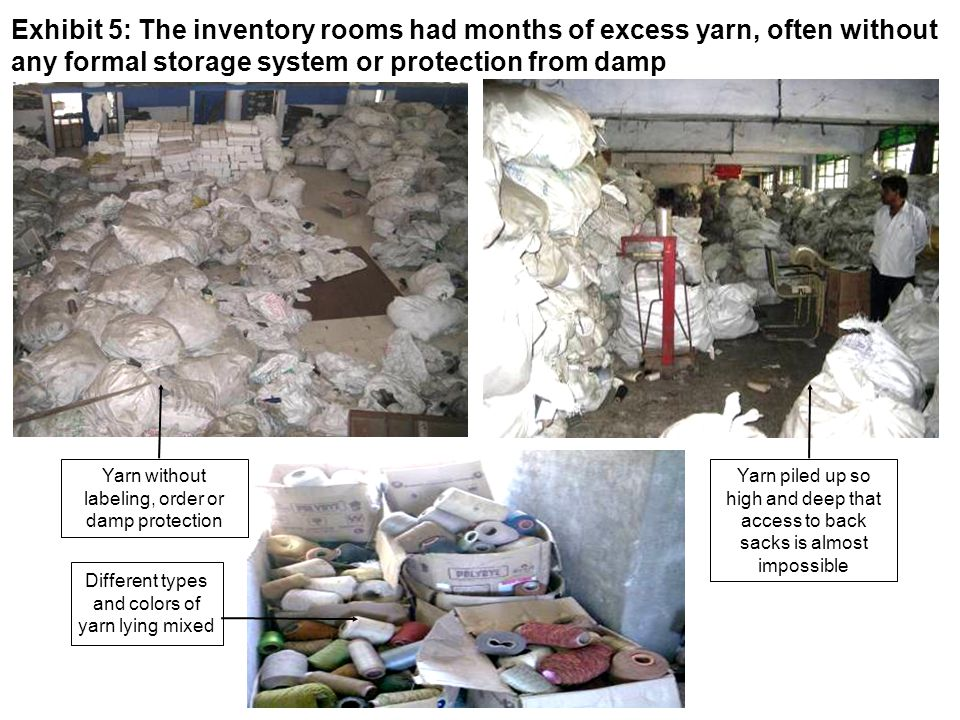 Yarn piled up so high and deep that access to back sacks is almost impossible Exhibit 5: The inventory rooms had months of excess yarn, often without