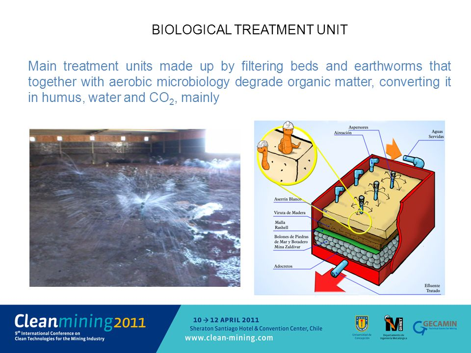 BIOLOGICAL TREATMENT UNIT Main treatment units made up by filtering beds and earthworms that together with aerobic microbiology degrade organic matter, converting it in humus, water and CO 2, mainly