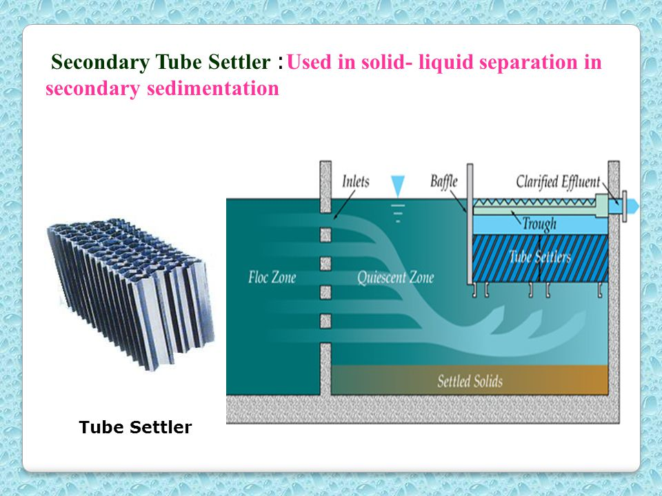 Secondary Tube Settler : Used in solid- liquid separation in secondary sedimentation Tube Settler