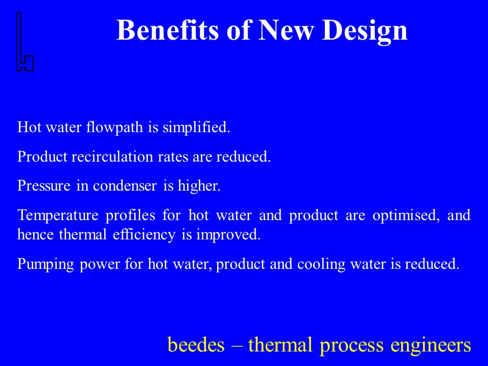 beedes – thermal process engineers Benefits of New Design Hot water flowpath is simplified.