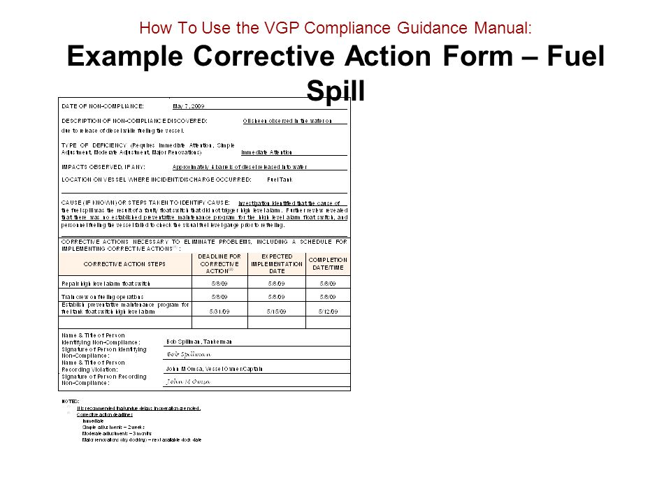 How To Use the VGP Compliance Guidance Manual: Example Corrective Action Form – Fuel Spill