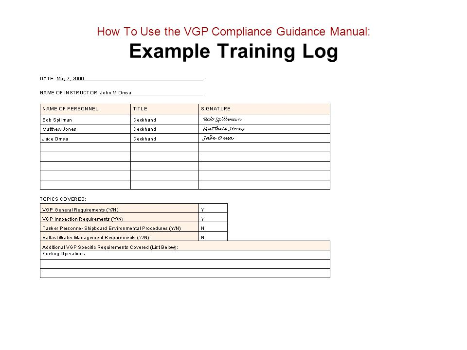 How To Use the VGP Compliance Guidance Manual: Example Training Log