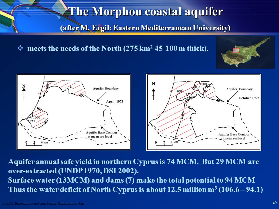 I.A.CO Environmental and Water Consultants Ltd 10 The Morphou coastal aquifer (after M.