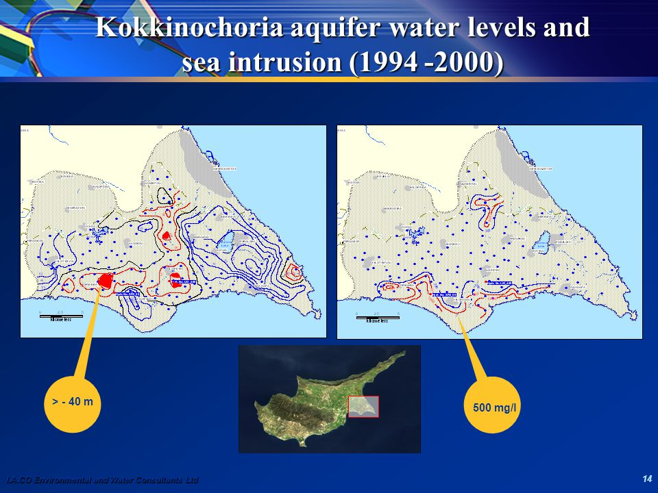 I.A.CO Environmental and Water Consultants Ltd 14 Kokkinochoria aquifer water levels and sea intrusion (1994 -2000) > - 40 m 500 mg/l
