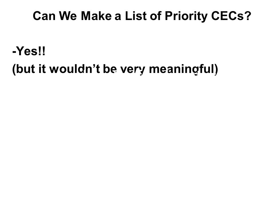 Can We Make a List of Priority CECs? -Yes!! (but it wouldn't be very meaningful) -saltwater/freshwater -effluent-dominated waters