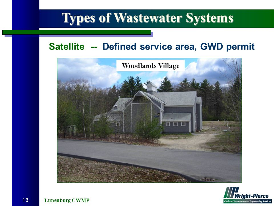 Lunenburg CWMP 13 Types of Wastewater Systems Satellite -- Defined service area, GWD permit Woodlands Village