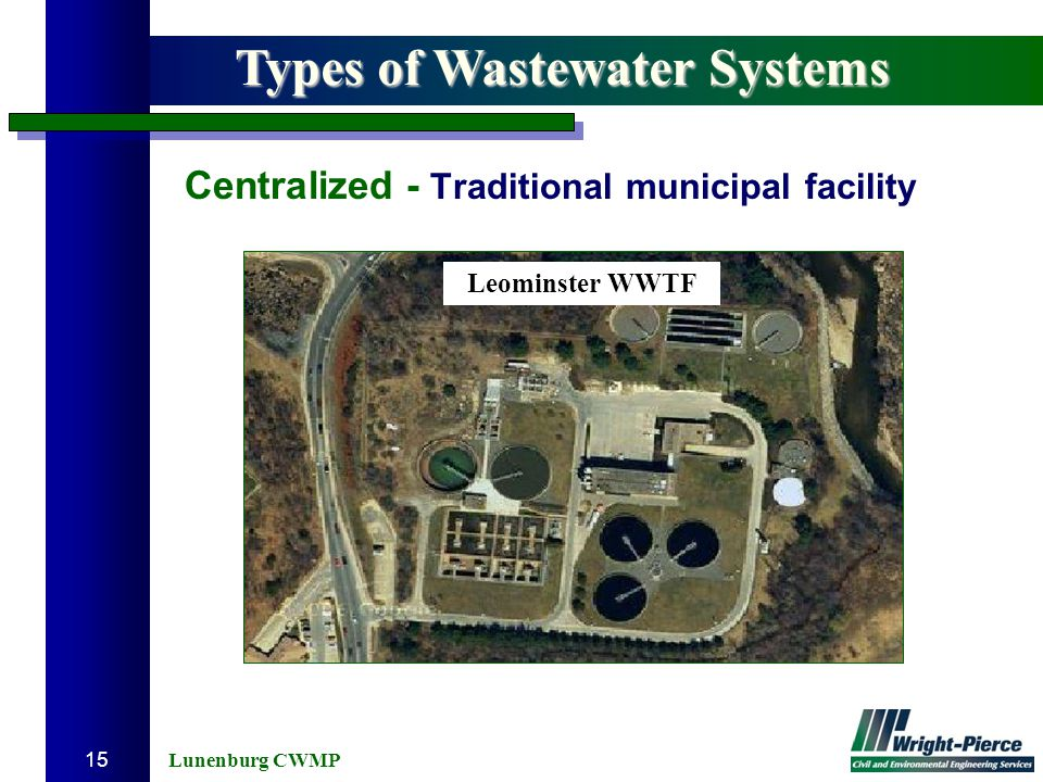 Lunenburg CWMP 15 Centralized - Traditional municipal facility Types of Wastewater Systems Leominster WWTF