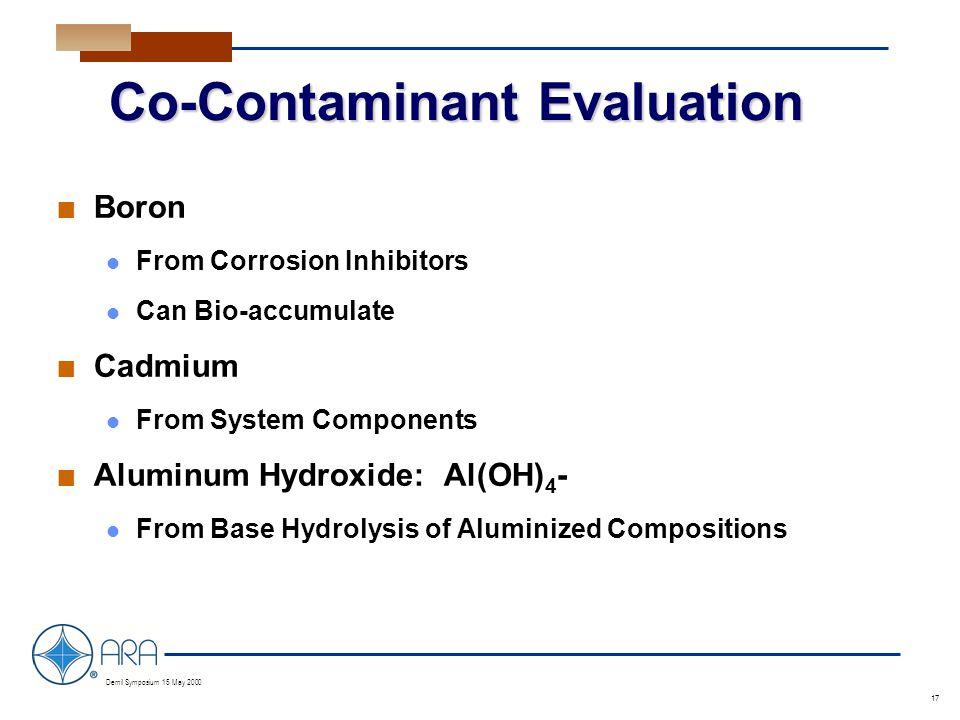 a Demil Symposium 15 May 2000 17 Co-Contaminant Evaluation n Boron From Corrosion Inhibitors Can Bio-accumulate n Cadmium From System Components n Aluminum Hydroxide: Al(OH) 4 - From Base Hydrolysis of Aluminized Compositions