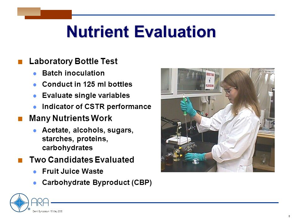 a Demil Symposium 15 May 2000 6 Nutrient Evaluation n Laboratory Bottle Test Batch inoculation Conduct in 125 ml bottles Evaluate single variables Indicator of CSTR performance n Many Nutrients Work Acetate, alcohols, sugars, starches, proteins, carbohydrates n Two Candidates Evaluated Fruit Juice Waste Carbohydrate Byproduct (CBP)
