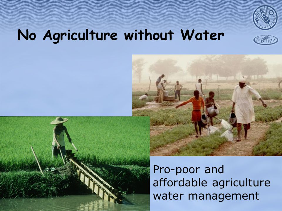 No Agriculture without Water Pro-poor and affordable agriculture water management