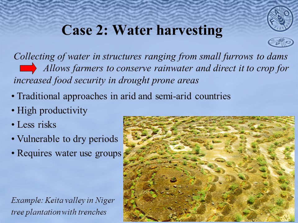 Collecting of water in structures ranging from small furrows to dams Allows farmers to conserve rainwater and direct it to crop for increased food security in drought prone areas Case 2: Water harvesting Traditional approaches in arid and semi-arid countries High productivity Less risks Vulnerable to dry periods Requires water use groups Example: Keita valley in Niger tree plantation with trenches
