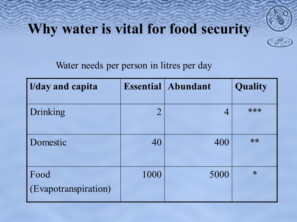 Why water is vital for food security l/day and capitaEssentialAbundantQuality Drinking24*** Domestic40400** Food (Evapotranspiration) 10005000* Water needs per person in litres per day