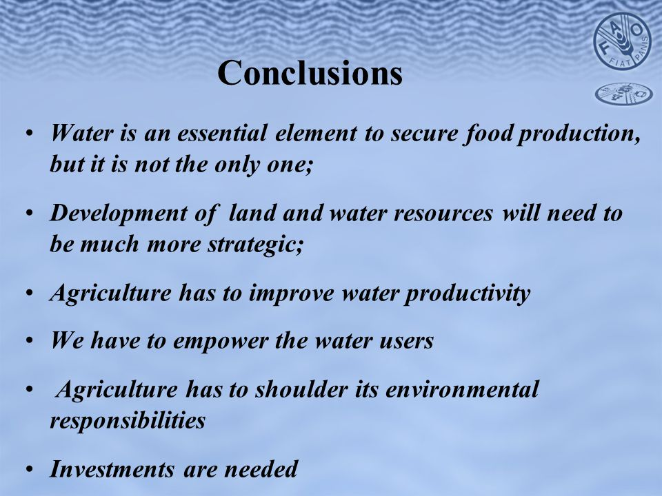 Conclusions Water is an essential element to secure food production, but it is not the only one; Development of land and water resources will need to be much more strategic; Agriculture has to improve water productivity We have to empower the water users Agriculture has to shoulder its environmental responsibilities Investments are needed